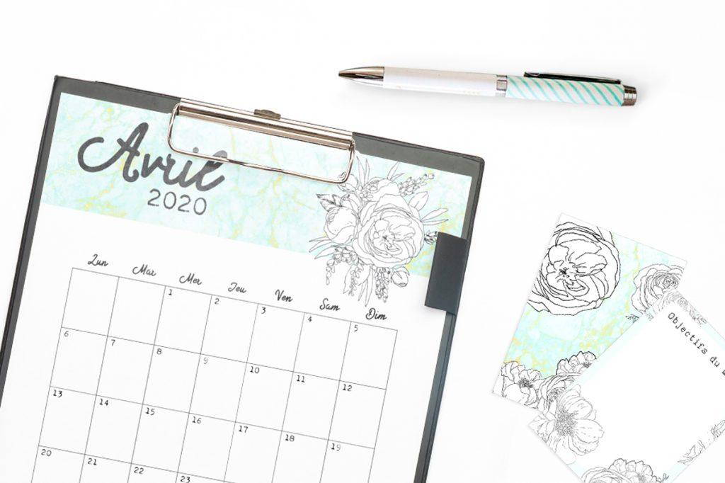 Calendrier-Avril-2020-à-imprimer-RoseCreative-Une